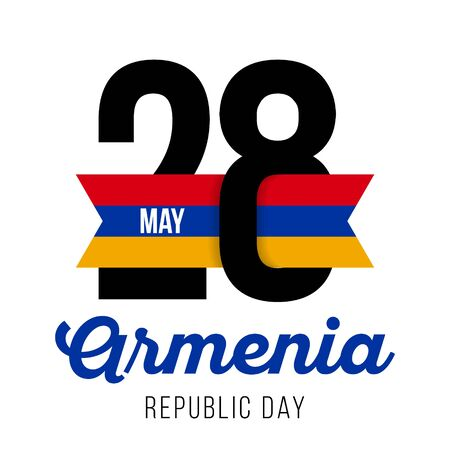 Congratulatory design for May 28, Republic Day in Armenia and the text with the colors of the flag of Armenia. Vector illustration