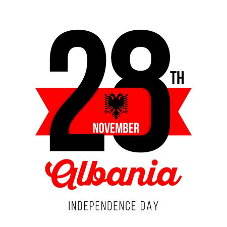 Congratulatory design for November 28, Albania Republic Independence Day. Text  with Albanian flag colors. Vector illustration.