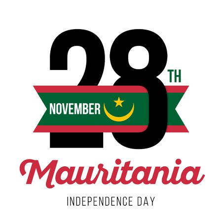 Congratulatory design for November 28, Mauritania Independence Day and text with the colors of the flag of Mauritania. Vector illustration Ilustrace