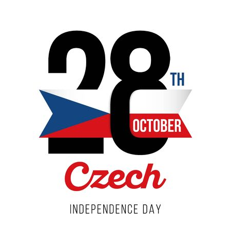 Congratulatory design for October 28, Czech Republic Independence Day. Text with Czech flag colors. Vector illustration.