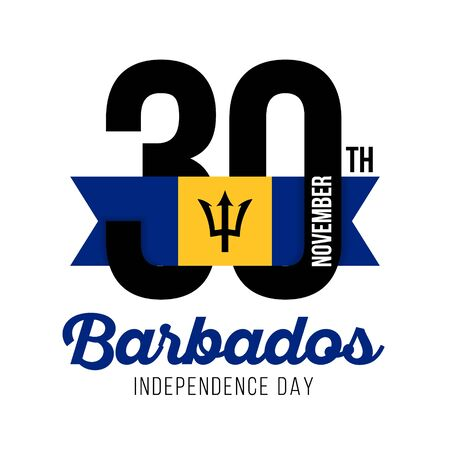 Congratulatory design for November 30, the Independence Day of Barbados and the text with the colors of the Barbados flag. Vector illustration
