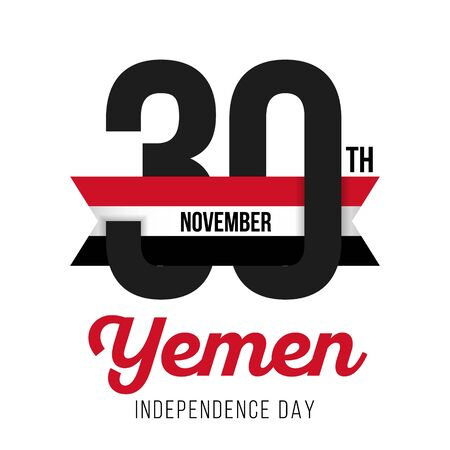Congratulatory design for November 30, the Independence Day of Yemen and the text with the colors of the flag of Yemen. Vector illustration