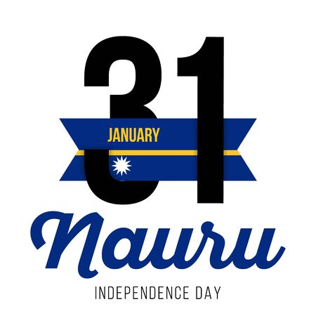 Congratulatory design for January 31, the National Day of Nauru and text with the colors of the flag of Nauru. Vector illustration