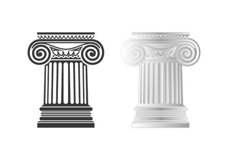 Architecture, ionic column, vector drawing