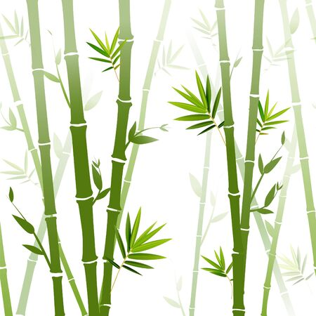 Vector background with green bamboo stems (seamless bamboo background, bamboo vector illustration, silhouette of bamboo trees background)  イラスト・ベクター素材
