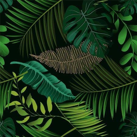 Heller tropischer Hintergrund mit Dschungelpflanzen. Exotisches Vektormuster mit Palmblättern.