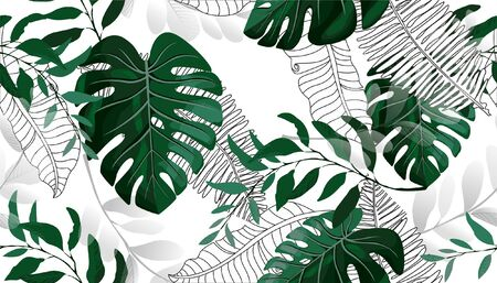 Tropical palm leaves, jungle leaves seamless vector floral pattern background Illustration