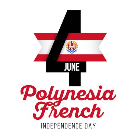 Congratulatory design for June 4, French Polynesia Independence Day. Text with French Polynesia flag colors. Vector illustration.