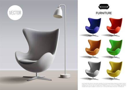 Realistic furniture concept with floor lamp on soft chair and colorful armchairs vector illustration