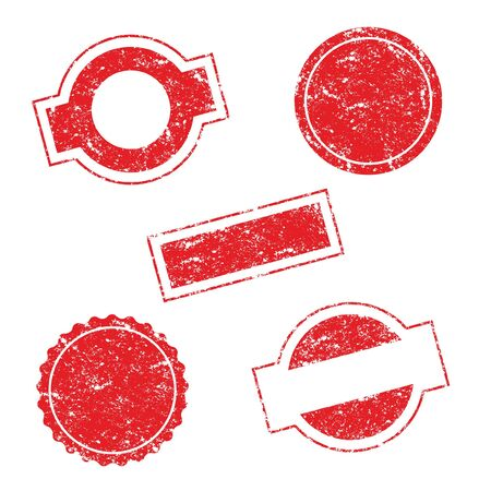 Vector Stamp without text. Set of Stamps. Red Stamps. Grunge Rubber Texture Stamp. Distressed Stamp Texture. Post Stamp Collection. Vector Stamps. Circle Stamps. Vectores