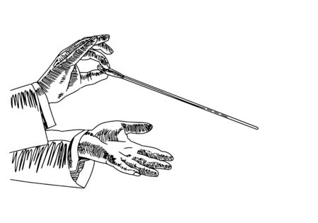 Vector sketch of the hands of the conductor who conducts the orchestra isolated on a white background