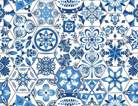 Geometrisches Fliesenvektormuster von Lissabon, portugiesische oder spanische retro sechseckige Mosaikfliesen, mediterranes nahtloses Marinedesign. Dekorativer indigofarbener Textilhintergrund