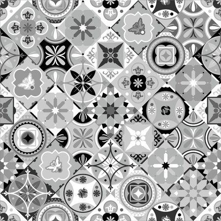 Tile black and white Azulejo set Portuguese pattern background
