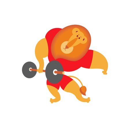 Vector illustration of a lion bodybuilder breaking iron, on white background