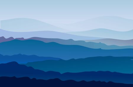 Background with mountains in the fog. Vector