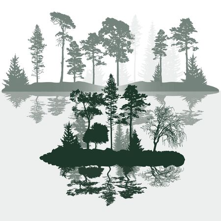 Landscape on the river with small islands, trees covered with hoarfrost. Vector illustration