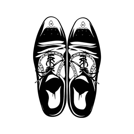 Vector hand drawing illustration with men fashion shoes. Classic Brogue Shoes. Oxfords Men's Shoes
