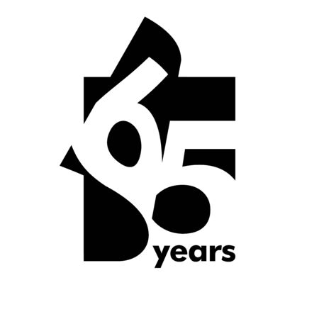 Isolated abstract logo 65 years. In the form of an open book, magazine. Happy greeting card for the 65th birthday. Black color writing on white background.