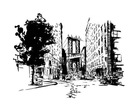 Manhattan bridge, street, vintage vector illustration engraving, hand drawn, sketch. Vector illustration