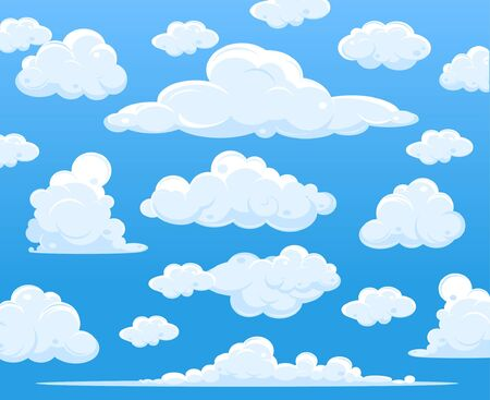 Blue sky with clouds, vector