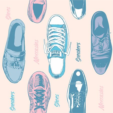 Seamless pattern of different shoes, sneakers on a white background