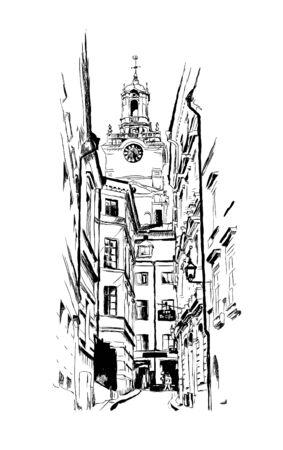 Stockholm, street, vintage vector engraving illustration, hand-drawn, sketch  イラスト・ベクター素材