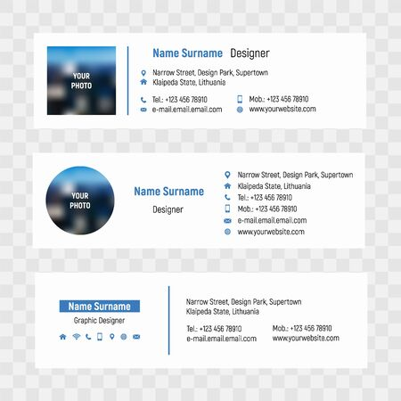 Business e-mail signature vector template. Business user internet contact illustration