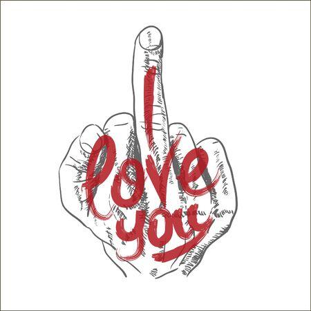 Hand, middle finger.  I love you. Inscription. Vector illustration Vectores