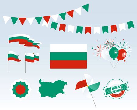 National holiday. Independence Day of Bulgaria, set of vector design elements. Made in Bulgaria. Map, flags, ribbons, turntables, sockets. Vector. September 22nd. Symbolism