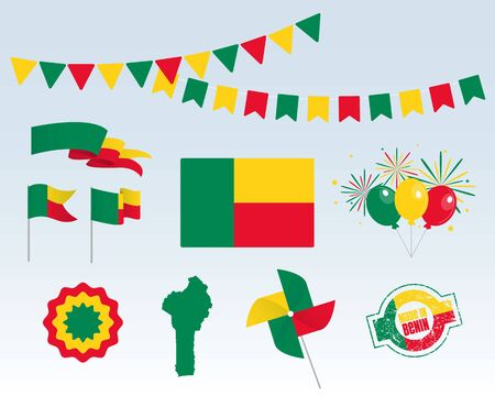 National holiday. Independence Day of Benin set of vector design elements, Made in Benin. Map, flags, ribbons, turntables, sockets. Vector symbolism, set for your infographics. August 1