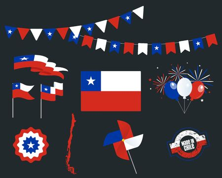 National holiday. Independence Day of Chile, set of vector design elements, Made in Chile. Map, flags, ribbons, turntables, sockets. Vector symbolism, set for your infographics. September 18th