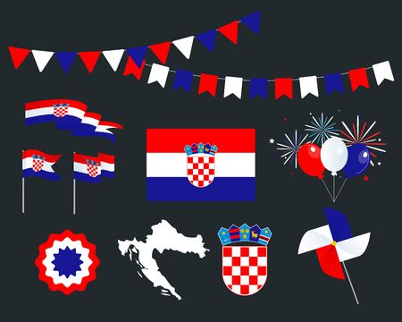 National holiday. Independence Day of Croatia, set of vector design elements. Map, coat of arms, flags, ribbons, turntables, sockets. Vector. October 8th. Symbolism
