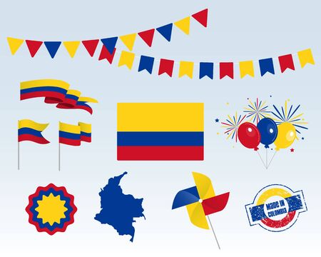 National holiday. Colombia Independence Day, set of vector design elements. Made in Colombia. Map, flags, ribbons, turntables, sockets. Vector. July 20. Symbolism Illusztráció