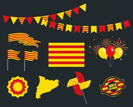 National holiday. Catalonia Independence Day set of vector design elements made in Catalonia. Map, flags, ribbons, turntables, sockets. Vector symbolism, set for your info graphic. 11 September