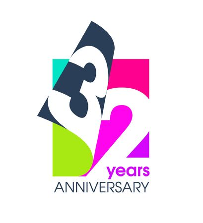 32 years anniversary colored  isolated on a white background for the celebration of the company. Vector Illustration Design Template