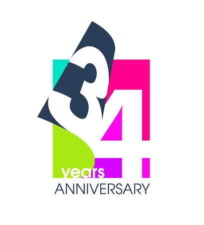 34 years anniversary colored  isolated on a white background for the celebration of the company. Vector Illustration Design Template