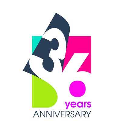 36 years anniversary colored  isolated on a white background for the celebration of the company. Vector Illustration Design Template