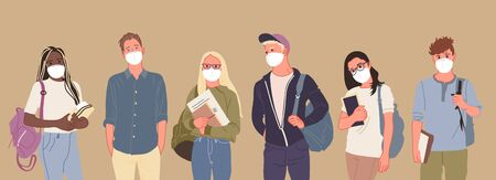 Group of people wearing medical masks to prevent disease, flu, air pollution, contaminated air, world pollution. Vector illustration in a flat style  イラスト・ベクター素材