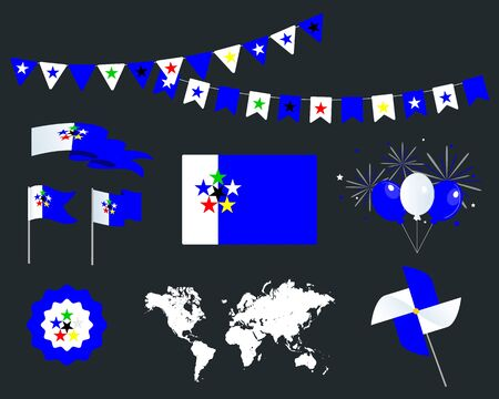 World flags, set of vector design elements. Fotw. Map, flags, ribbons, turntables, sockets. Vector Vectores