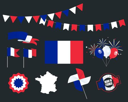National holiday. France Independence Day, set of vector design elements. Made in France. Map, flags, ribbons, turntables, sockets. Vector. The 14 th of July. Symbolism