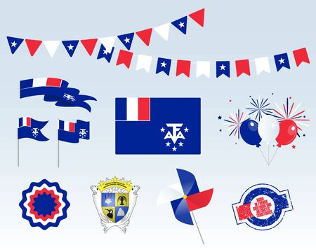 National holiday. Independence Day French Southern and Antarctic Territories set of vector design elements, Made in French Southern and Antarctic Territories. Map, flags, ribbons, turntables, sockets. Vectores