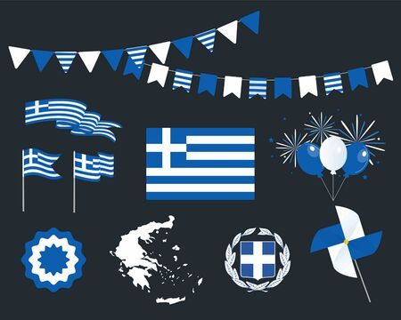 National holiday. Independence Day of Greece, set of vector design elements. Map, coat of arms, flags, ribbons, turntables, sockets. Vector. March 25. Symbolism