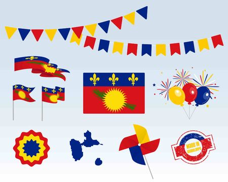 National holiday. Independence Day of Guadeloupe set of vector design elements, Made in Guadeloupe. Map, flags, ribbons, turntables, sockets. Vector symbolism, set for your infographics.