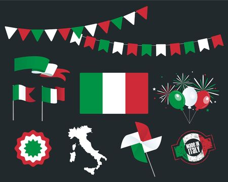National holiday. Independence Day of Italy set of vector design elements, Made in Italy. Map, flags, ribbons, turntables, sockets. Vector symbolism, set for your infographics. 2 June Stock fotó - 149435745
