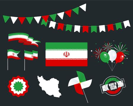 National holiday. Independence Day of Iran set of vector design elements, Made in Iran. Map, flags, ribbons, turntables, sockets. Vector symbolism, set for your infographics. 11 February Çizim
