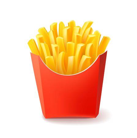 Vecteur de pommes de terre frites dans une boîte d'emballage en carton rouge isolée sur fond blanc. Fast food
