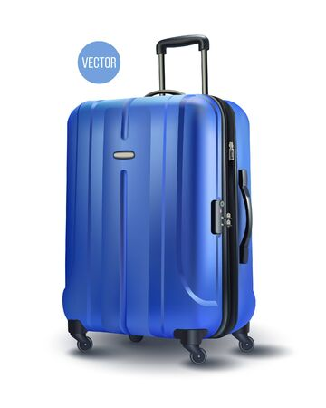 旅行のための青いモダンなスーツケース、白い透明な背景に分離されたケースのアイコン。EPS10 ベクトルのイラスト