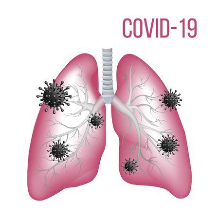 Sign caution coronavirus. Stop coronavirus vector illustration. Lungs with Coronavirus on white background. 2019-nCov novel coronavirus concept