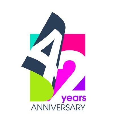 42 years anniversary isolated on a white background for the celebration of the company. Vector Illustration Design Template