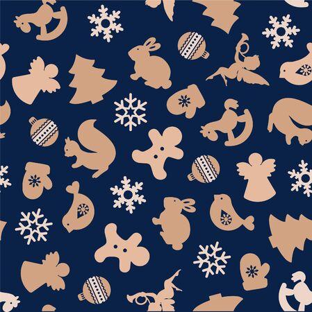 Christmas icon elements border pattern blue background. Vector illustration